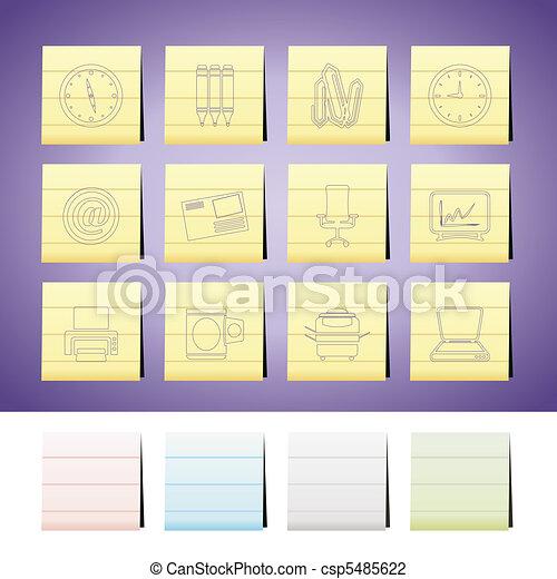 kontor, redskapen, ikonen, affär - csp5485622