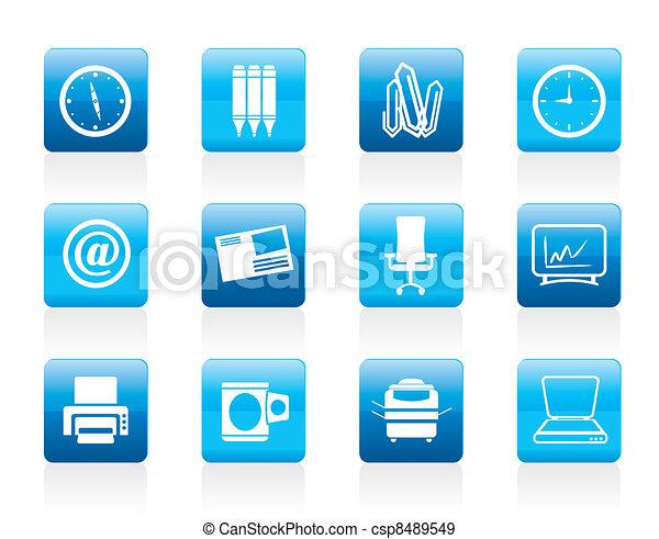 kontor, redskapen, ikonen, affär - csp8489549