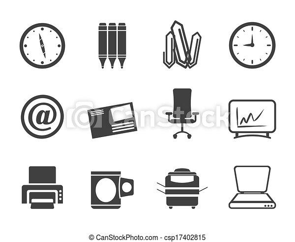 kontor, redskapen, ikonen, affär - csp17402815