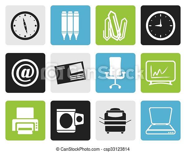 kontor, redskapen, ikonen, affär - csp33123814