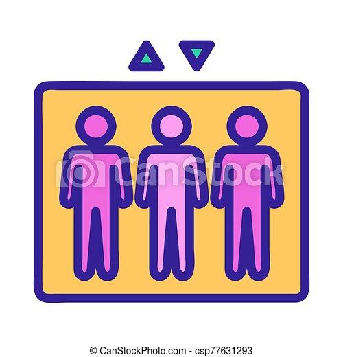 kontur, folk, vector., illustration, symbol, hiss, isolerat, ikon - csp77631293