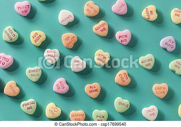 konversation, hjärtan, dag, godis, valentinkort - csp17699540