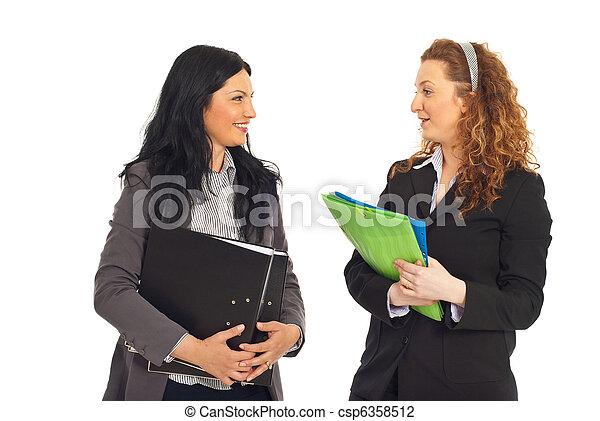konversation, kvinnor, ha, affär, två - csp6358512
