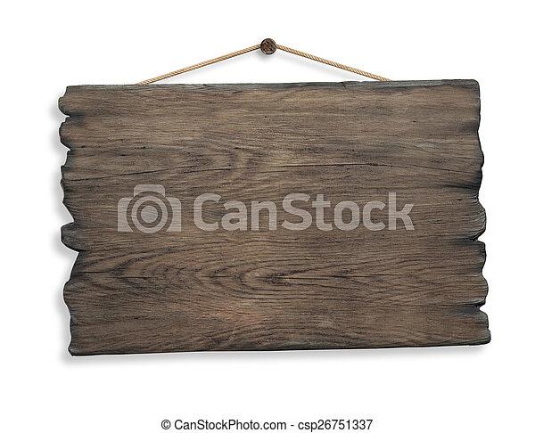 koord, vrijstaand, meldingsbord, spijker, hout, hangend - csp26751337