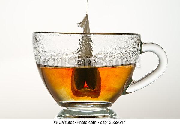 kop, vrijstaand, water, warme, gevulde, achtergrond, witte , teabag - csp13659647