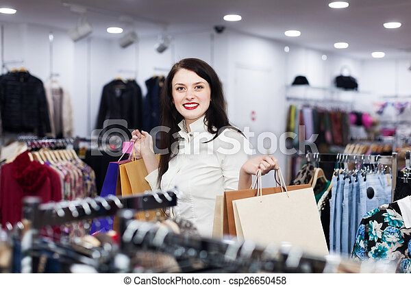 koper, winkel, kleding, jonge, vrouwlijk - csp26650458