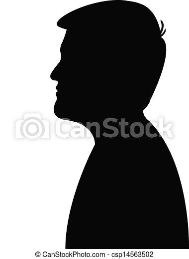 kopf, bemannt, junger, silhouette - csp14563502