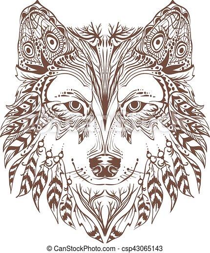 kopf, graphischer entwurf, hund - csp43065143