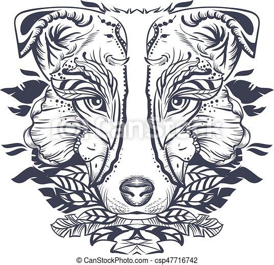 Hundekopf abstrakte Illustration. Schwarz und weiß - csp47716742