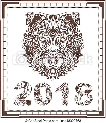 Abstract Hundekopf und Vogelfeder Symbol 2018 - csp48323768