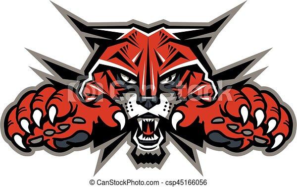 kopf, wildcat, maskottchen - csp45166056