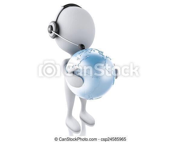3D weißer Mensch mit Kopfhörern und Erdkugeln. Globale Kommunikation - csp24585965