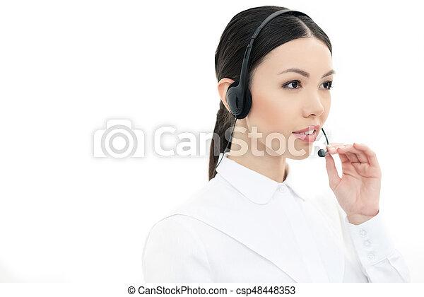 kopfhörer, zentrieren, freigestellt, rufen, bediener, porträt, weißes - csp48448353