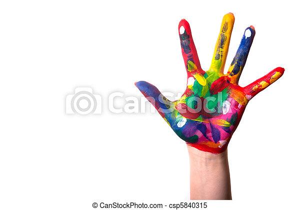 kopie, hand, kleurrijke, ruimte - csp5840315