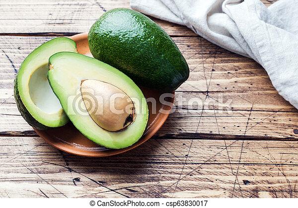kopie, hout, avocado, achtergrond, space. - csp63830017