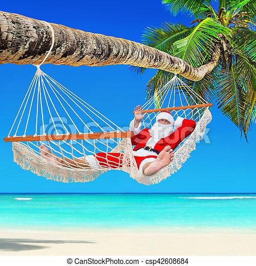 Koppla av, claus, tropisk, hängmatta, palm, jultomten ...