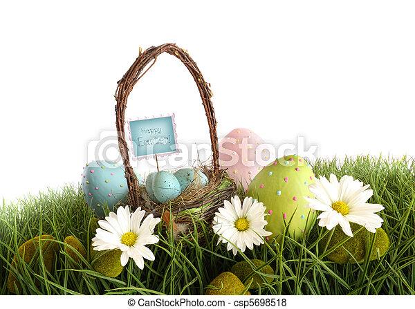 korb, eier, gras, ostern - csp5698518