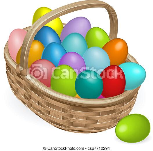 korb, eier, ostern, abbildung - csp7712294