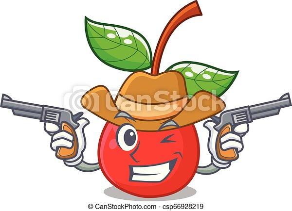 korb, kirschen, maskottchen, fruechte, cowboy - csp66928219