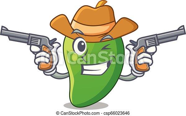 korb, mango, grün, karikaturen, cowboy - csp66023646