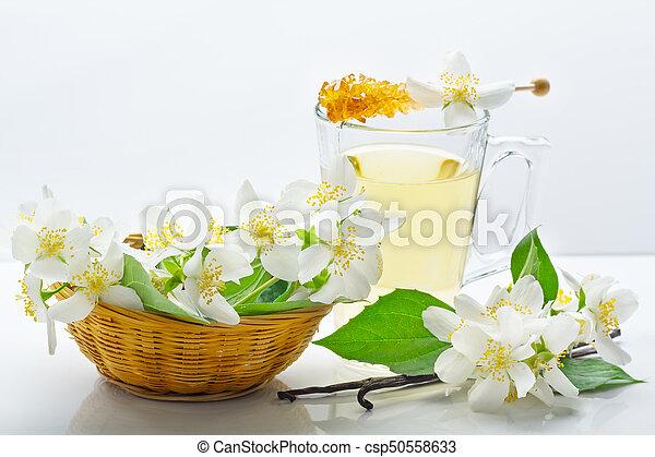 korb, vanille, blumen, jasmin, tee - csp50558633