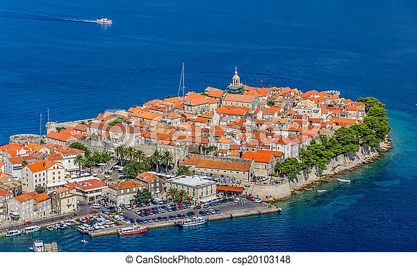 Korcula old town aerial photo - csp20103148