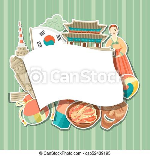Korea background design korean traditional sticker symbols and objects