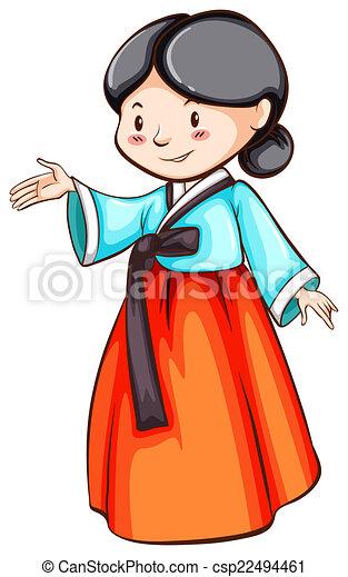 illustration of a close up korean woman clip art vector search rh canstockphoto com korean clipart black and white clipart korean girl