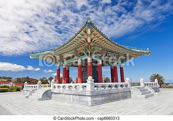 Korean Bell of Friendship pagoda in San Pedro - csp6660313