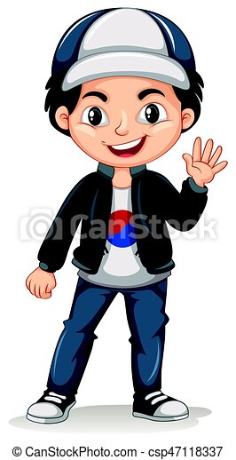 korean boy wearing cap and jacket illustration vectors search clip rh canstockphoto com korean clipart black and white clipart korean boy