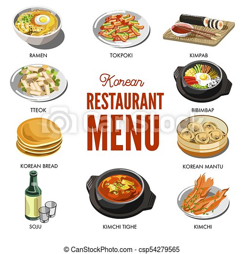 Korean cuisine traditional dishes flat icons. vector set ...
