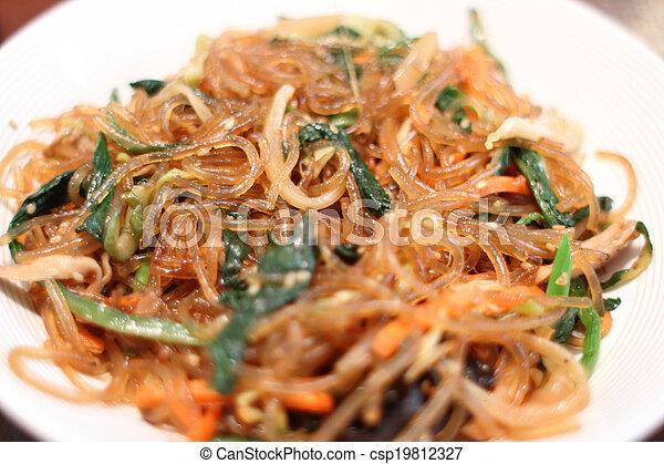 Korean dish known as Japchae  - csp19812327