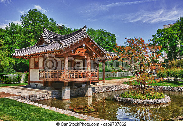 korean garden in the uni campus westend frankfurt am main hessen germany - Korean Garden