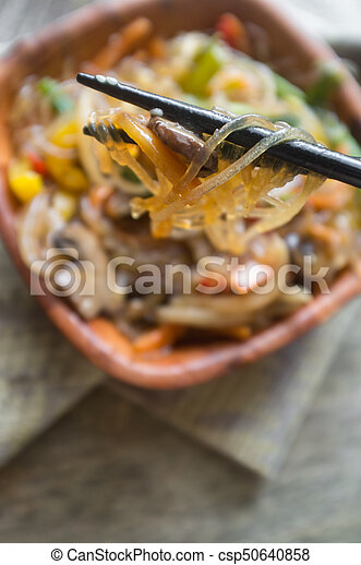 Korean Japchae Stir Fried Noodles - csp50640858