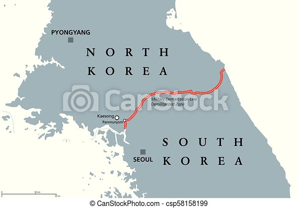 Korean Peninsula Demilitarized Zone Area Gray Political Map