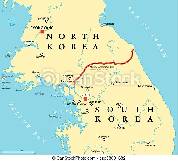 Korean Peninsula Demilitarized Zone Political Map Korean