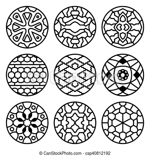 Korean Traditional Vector Ancient Buddhist Patterns Ornaments And