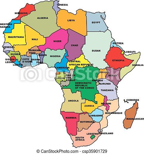 Kort, afrika. Kort, hvid, afrika, isoleret, baggrund.