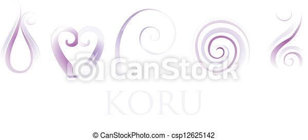 f77d03252ede2 A set of purple glass maori koru curl ornaments.