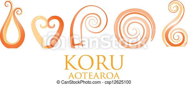 f6128c27a0ce3 A set of orange glass maori koru curl ornaments.