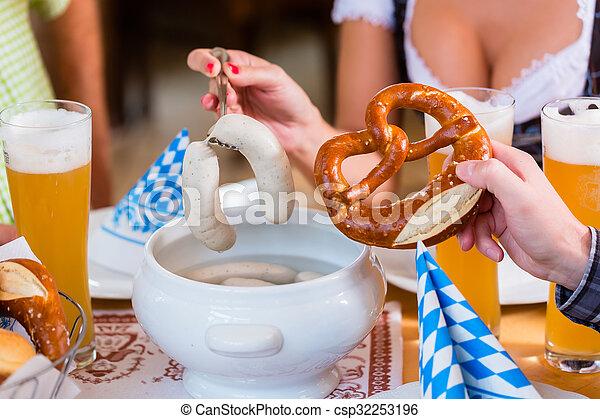 korv, äta, restaurang, bayersk, folk, kalvkött - csp32253196