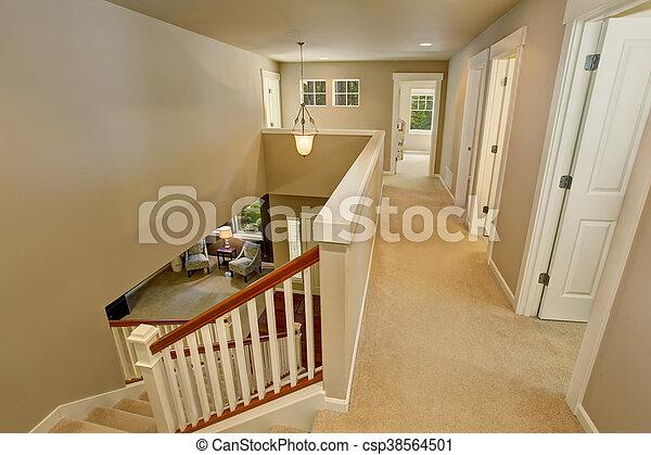 Bardzo dobry Korytarz, podłoga, ściany, beżowy, wewnętrzny, dywan. Korytarz GD33