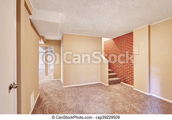 Wspaniały Korytarz, podłoga, wall., suterena, wewnętrzny, cegła, dywan UG35