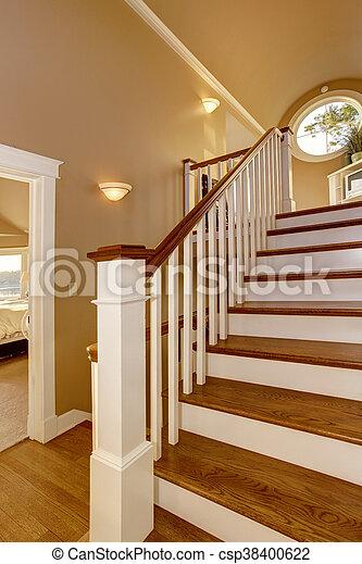 Korytarz Schody Drewniany Dom Railings Interior Biały