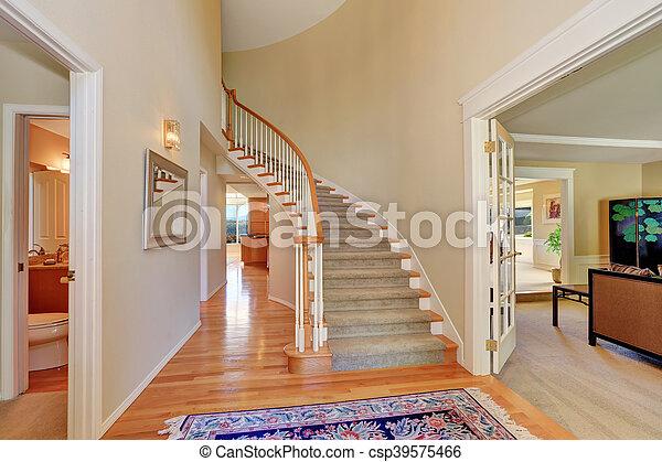 Wszystkie nowe Korytarz, schody, jasny, beżowy, wewnętrzny, dywan. Korytarz, usa IR85