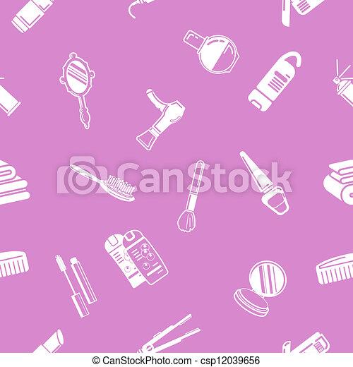 kosmetika, seamless, bakgrund, textu - csp12039656