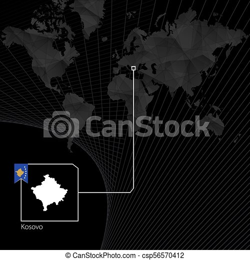 Kosovo on black world map map and flag of kosovo vector clip art kosovo on black world map map and flag of kosovo csp56570412 gumiabroncs Images