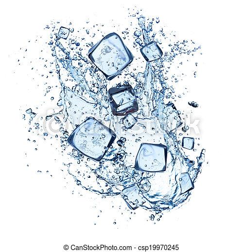 kostki, lód polewają, plamy, tło, biały - csp19970245