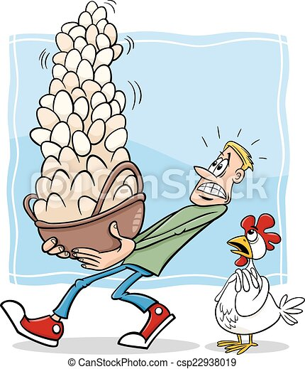 kosz, wszystko, jaja, rysunek, jeden - csp22938019