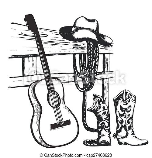kowboj, rocznik wina, gitara, muzyka, afisz, odzież - csp27408628
